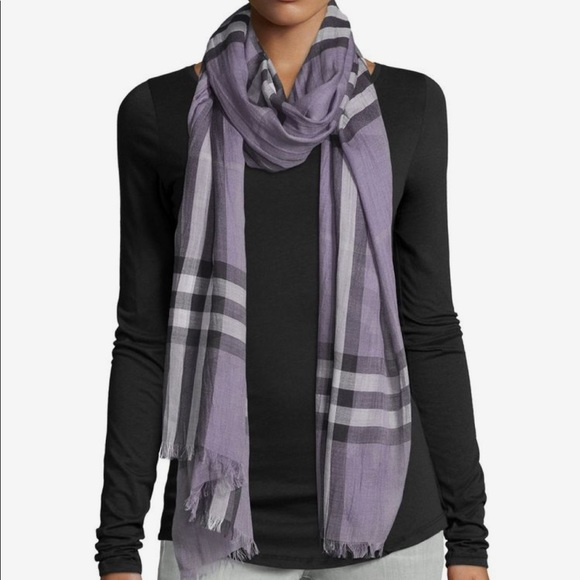 Burberry Accessories - Burberry Giant Check Gauze Scarf